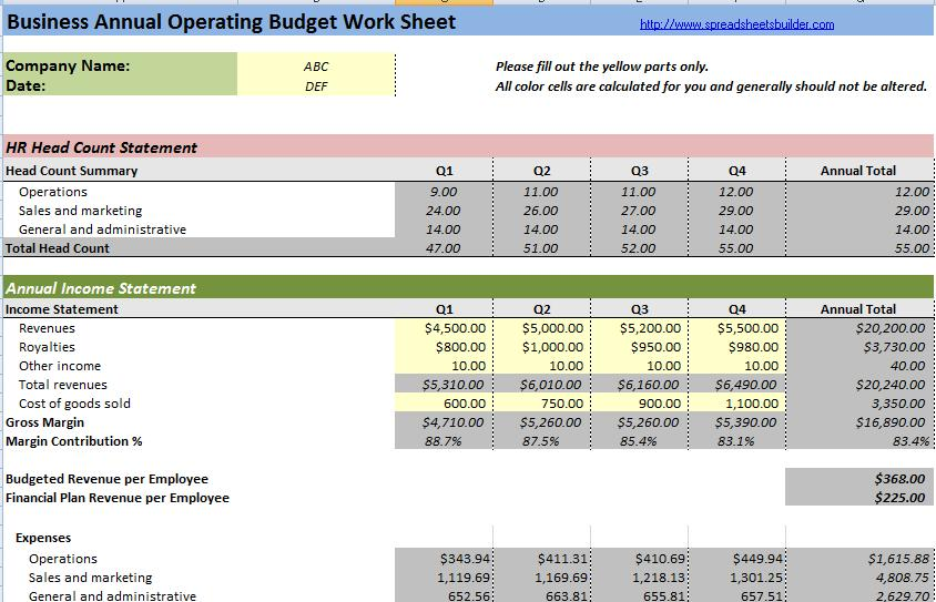 Business Budget Spreadsheet Templates