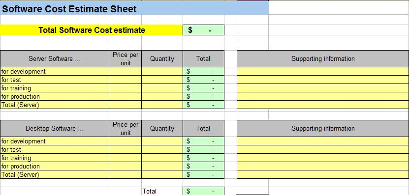 Project Cost Estimating Spreadsheet – Project Sheet Template