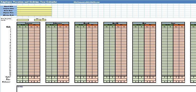 Employee Vacation And Sick Calendar Spreadsheet Template